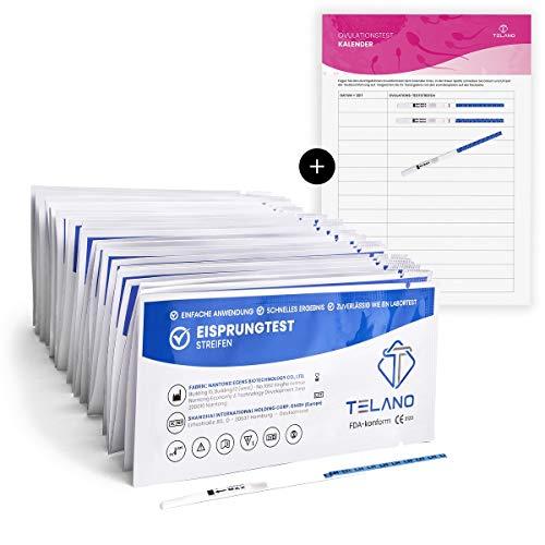 50x Telano Ovulationstest Streifen Extra Empfindlich 10mIU/ml | Eisprungrechner zur Berechnung der fruchtbaren Tage | Eisprung berechnen bequem von Zuhause aus