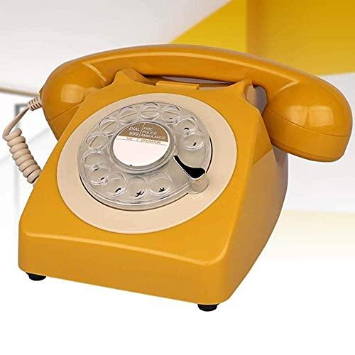 FHISD Teléfono de Estilo Retro/Teléfono de época/Teléfono de Escritorio clásico con Marcador Giratorio Disco de marcación giratoria Teléfono Retro en el Estilo sinuoso del teléfono Fijo Retro