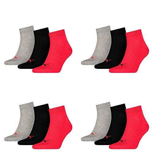 PUMA 12 Paar Unisex Quarter Socken Sneaker Gr. 35-49 für Damen Herren Füßlinge, Farbe:232 - black/red, Socken & Strümpfe:35-38