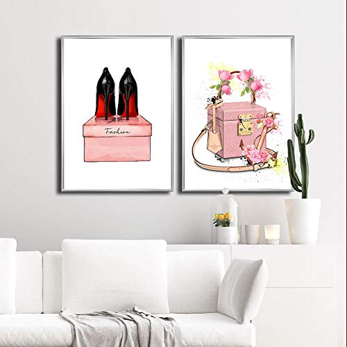 HNZKly Mujeres Bolso Moda Poster TacóN Alto Zapatos Lienzo Pared Arte Pinturas...