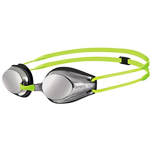 arena Kinder Unisex Wettkampf Schwimmbrille Tracks Jr. Mirror (Verspiegelt, UV-Schutz, Anti-Fog Beschichtung), Silver-Black-Fluoyellow (53), One Size