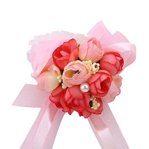 Weisin Handgelenk Corsage und Boutonniere Set Seidenblumen Strass Boutonniere Pins Kristalle Handgelenk Armband Corsage für Hochzeit Brautjungfer Prom Party,Rosa