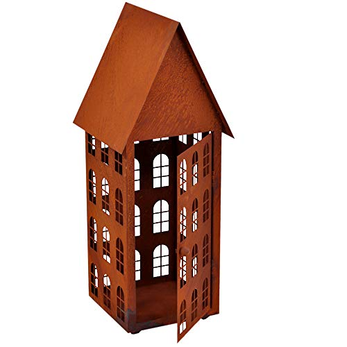 ecosoul Gartendeko Haus hoch Laterne Gartenlicht zum Stellen Metall Rost Deko (15x15x45 cm)