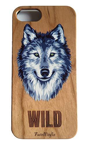 FustaMàgica - Cover in legno per iPhone 7 Plus, motivo: lupo selvatico, compatibile con iPhone 6P, 7P, 8P