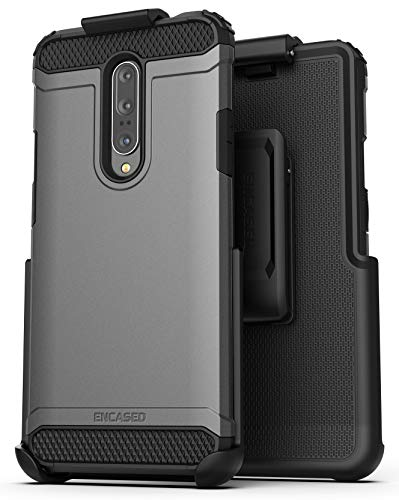 Encased OnePlus 7 Pro Belt Clip Holster Case (Scorpio Armor) Ultra Tough Grip Cover with Holder for One Plus 7 Pro (Gunmetal)