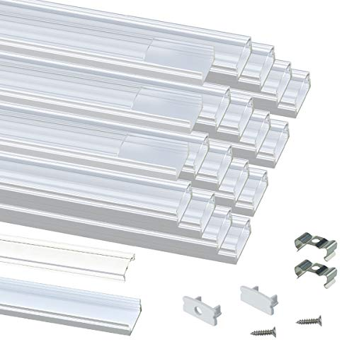 Muzata 20Pack 3.3ft/1M LED Channel System with Crystal Transparent Clear Cover Lens,Aluminum Extrusion Track Housing Profile for Strip Tape Light, U Shape with U1SW 1M WT,Series LU1 LH1