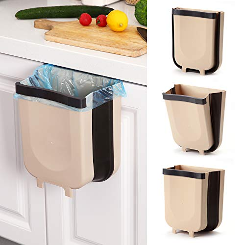 foldable trash cans SheMarie Hanging Collapsible Trash Can - 9L Wall Mounted Foldable Waste Bin for Kitchen Cabinet Door - Quickly Clean Counter, Sink, Bathroom - RV, Car, Camping Folding Garbage Basket (Brown)