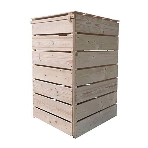 Fairpreis-design Mülltonnenbox Mülltonnenverkleidung 1 Tonne Holz 120L - 240L Natur inkl. Rückwand vormontiert Müllcontainer Mülltonne Mod.A