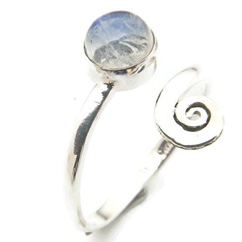 Mondstein Ring 925 Silber Sterlingsilber Damenring weiß verstellbar (MRI 102-04)