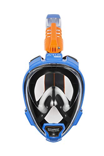 OCEAN REEF - Aria QR + Quick Release Snorkeling Mask - Full Face Snorkeling Mask - 180 Degree Underwater Vision - 5 Different Colors and 3 Sizes - Blue Color - Size M/L