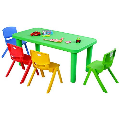 Costzon Kids Table and Chair Set, Plastic Learn and Play Activity Set, Colorful Stackable Chairs,...