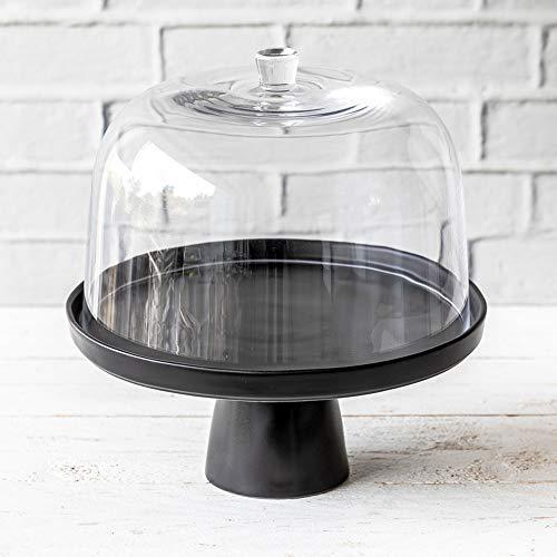 Home of Cake Tortenplatte mit Fuß Puro medium in Schwarz Matt mit Glashaube, Ø 27 cm