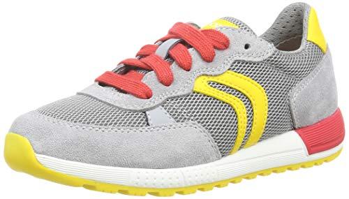 Geox Jungen J ALBEN Boy D Sneaker, Grau (Grey/Yellow C0030), 31 EU