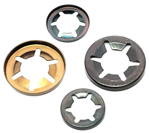Arandelas starlock a presión para retención de eje, acero elástico, 2 mm a 25 mm