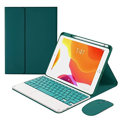 HaoHZ Funda Teclado para iPad 10.2 8.A / 7.A Generación - Teclado Bluetooth Desmontable con Retroiluminación de 7 Colores con Trackpad, Estuche con Portalápices, Ratón Bluetooth,Deep Green