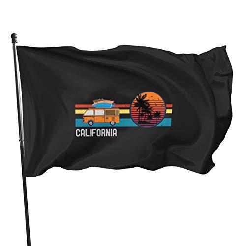 N/ Vintage California Hippie Surf Van Beach Surfen Flag Banner Flaggen, 91 x 152 cm
