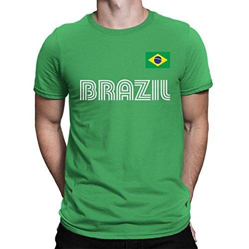 SpiritForged Apparel Brazil Soccer Jersey Men's T-Shirt, Kelly Medium
