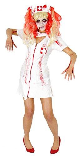 Foxxeo Zombie Krankenschwester Kostüm für Damen und Mädchen Halloween Fasching Karneval Größe S