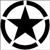 Pegatina con Estrella US Army, color negro, diámetro 10 cm, 2 unidades