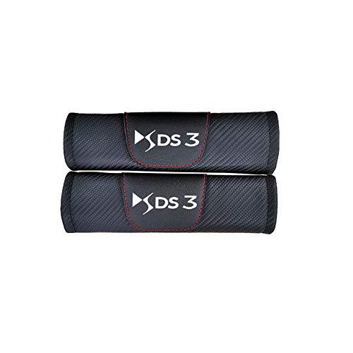 GLLXPZ 2個カーシートベルトカバーカーボンファイバーレザーシートベルトショルダーパッドインテリアアクセサリー、シトロエンDS3用