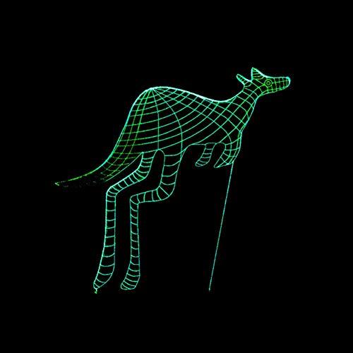 LIkaxyd Led-3D Nachtlicht Usb-Powered 7-Farben-Touch-Schalter Schlafzimmer Dekoratives Licht Für Kindergeburtstag Weihnachtsgeschenke Und Partydekorationen -Känguru