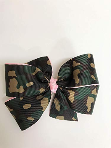 Girls Military Camouflage Hair Clip Pink Camo Hair Bow Teen Army Camo Barrette