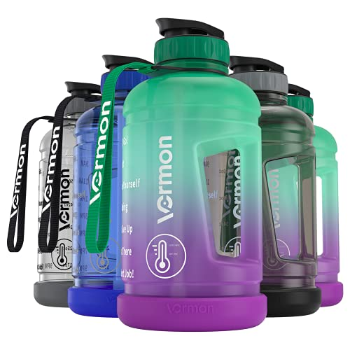 Gallone, borraccia sportiva da 2,2 litri, motivante, con tempo e cannuccia, per fitness, senza BPA, a prova di perdite (nero)