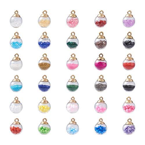 Beadthoven - Confezione da 90 ciondoli colorati a forma di sfera in cristallo, trasparenti, con micro perline in resina e strass, per creazione di gioielli fai da te: collane, bracciali, orecchini