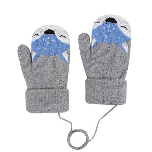 Qchomee Fausthandschuhe Fäustlinge Kinderhandschuhe Cartoon Fuchs Strickhandschuhe Baby Handschuhe Outdoor Plüschfutter Wollhandschuhe Winter Winterhandschuhe Warm Handwärmer für Kinder Mädchen