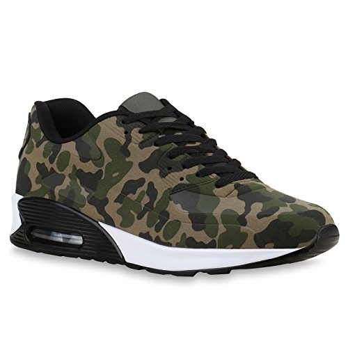 stiefelparadies Herren Sport Leder-Optik Sneakers Velours Glitzer Metallic Runners Freizeit Schnürer Schuhe 135698 Camouflage 38 Flandell