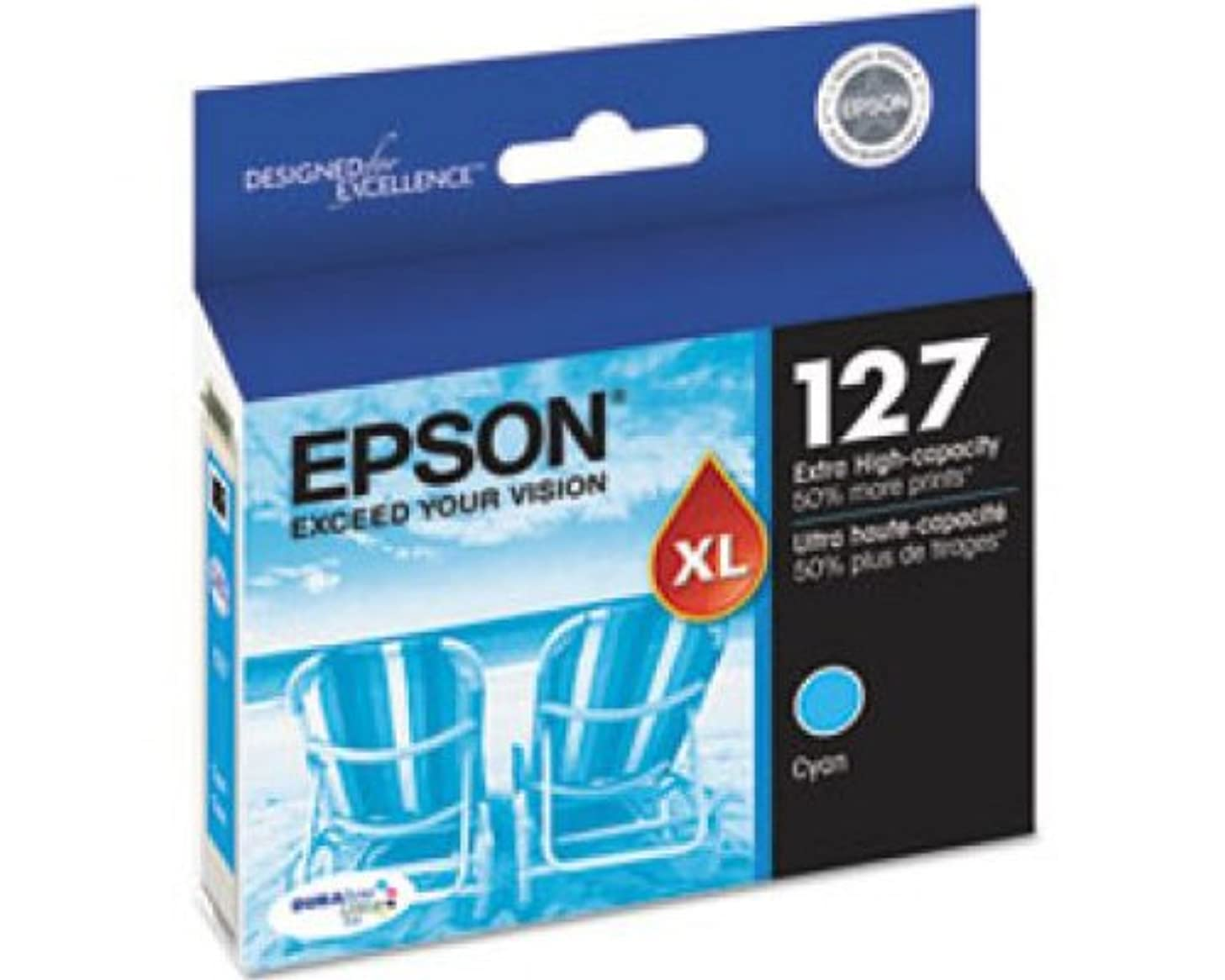 Epson T127220 127 OEM Ink Cartridge: Cyan Yields 755 Pages