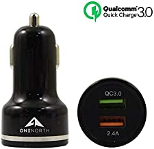 OneNorth Fast Charge 3.0 Dual USB Car Charger 40W 3A Car Adapter with Dual QC USB Ports Compatible with Galaxy S9 S8 Plus Note8 S7, iPhone Xs XR X 8 7 Plus, iPad, Tablet and More (Black)