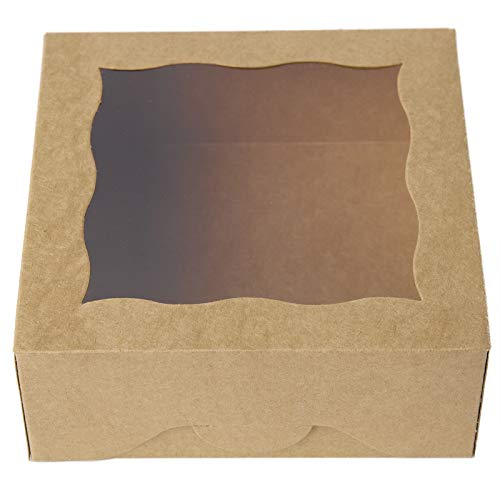 ONE MORE 6'Brown Bakery Boxes with PVC Window for Pie and Cookies Boxes Small Natural Craft Paper Box 6x6x2.5inch,12 of Pack