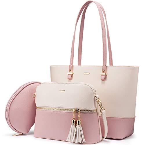 LOVEVOOK Handtasche Damen Schultertasche Handtaschen Tragetasche Damen Groß Designer Elegant Umhängetasche Henkeltasche Set 3-teiliges Set (Aprikosenrosa)