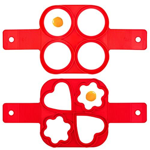 INHEMING Pancake Moldes Silicona, 4 Ring Molde Formas, Reutilizable Antiadherente Pancake Maker Anillo de Huevo Hacer