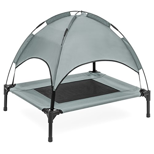 Best Choice Products 30in Raised Mesh Cot Cooling Dog Bed w/Removable Canopy Tent, Travel Bag - Gray