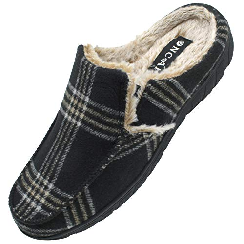 ONCAI Zapatillas de Casa para Hombre-Tartán Pantuflas Hombre de Invierno Memory Foam-Antideslizante Tweed Mocasines Zuecos Pantufla de Hombre con Suave Vellón-Lana Hombre Zapatos Intemperie Negra