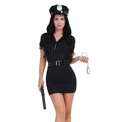 dPois Policia Disfraz Mujer Chica Disfraces Monitor Atractiva Vestido Policía Uniforme Erotico Sombrero Esposas Cinturon Spontoon Cosplay Halloween Fiesta Carnaval Traje de Club Negro One_Size