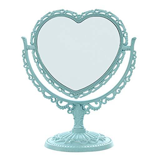 Luxshiny Miroir de Maquillage de Table Miroir Grossissant sur Pied avec Rotation à 360 Degrés Miroir Pivotant Double Face (Forme de Coeur Bleu)