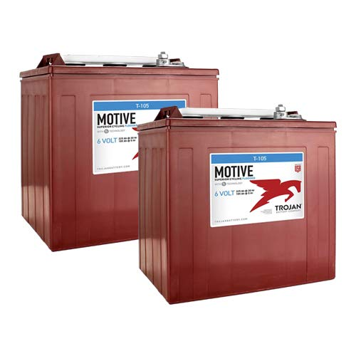 2 Pack - Trojan T-105 6V Volt Deep Cycle Golf Cart, Solar, Marine, RV and Industrial Use Battery