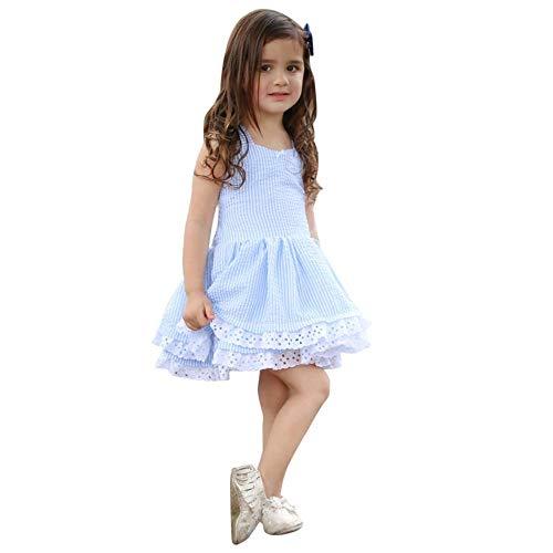 Mädchen Kleider Festlich, Weant Baby Kleidung Mädchen Blau Streifen Bowknot Schulterfrei Spitze Prinzessin Kleider FüR Kinder Mädchen Kleidung Partykleid Kleid Baby Tägliche Kleidung Pullover
