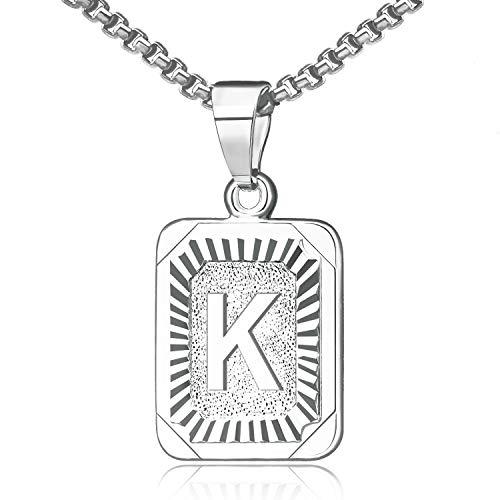 JSJOY Initial Necklace for Women White Gold Letter Necklaces K Initial Necklace Alphabet Letter K Necklace Platinum Square Monogram Necklace