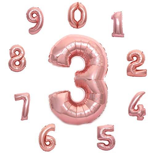 Sepkina großer Folienballon Ballon Geburtstag Hochzeit Zahlenballon Zahlen Zahl (3, Rose-G)