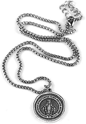 LBBYLFFF Collar Hombres Mujeres Maravilloso Collar Medieval Virgen María Medalla Colgante Artista Católico Religioso Medallón Joyería