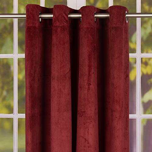 Mooi leven. Kant-en-klaar gordijn ooggordijn uni velours bordeaux rood 140x260cm