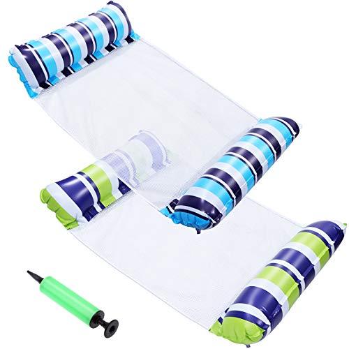 LOCOLO Hamaca de agua de 2 piezas, flotadores inflables para adultos, hamaca de agua, ligera y portátil, para piscina, para verano, viajes, playa, vacaciones