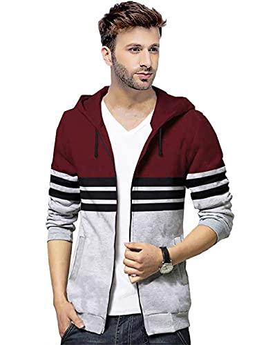 BLIVE Full Sleeve Striped Men's Hooded Zipper Jacket Dark Blue,white| Hoodies | Zipper Jacket