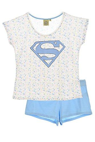 Superman Pelele para Dormir, Azul (LBlue), L para Mujer