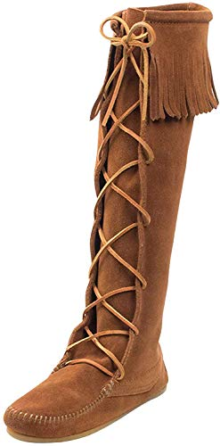 Minnetonka Women's Front Lace Knee High Boots 6 M Brown