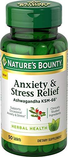 Nature's Bounty Anxiety & Stress Relief Ashwagandha Ksm-66 Tablets, 50 Count